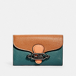 JADE MEDIUM ENVELOPE WALLET IN COLORBLOCK - QB/DARK TURQUOISE MULTI - COACH 91194