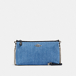 ZIP TOP CROSSBODY - SV/DENIM MULTI - COACH 91195