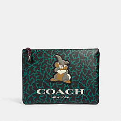 DISNEY X COACH LARGE POUCH WITH WAVY ANIMAL PRINT AND THUMPER - QB/DARK GREEN MULTI - COACH 91217