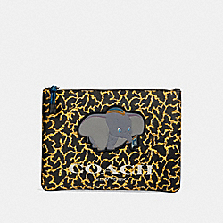 DISNEY X COACH LARGE POUCH WITH WAVY ANIMAL PRINT AND DUMBO - QB/YELLOW MULTI - COACH 91218
