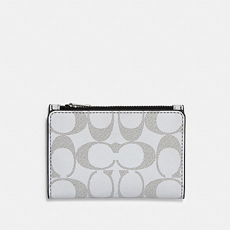 COACH BIFOLD CARD WALLET IN REFLECTIVE SIGNATURE CANVAS - QB/REFLECTIVE SILVER - 91225