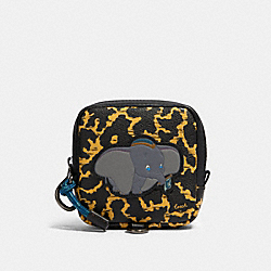 DISNEY X COACH SQUARE HYBRID POUCH WITH WAVY ANIMAL PRINT AND DUMBO - QB/YELLOW MULTI - COACH 91227