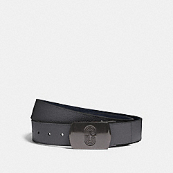 PLAQUE BUCKLE CUT-TO-SIZE REVERSIBLE BELT, 38MM - QB/INDUSTRIAL GREY NAVY - COACH 91232