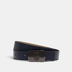 PLAQUE BUCKLE CUT-TO-SIZE REVERSIBLE BELT, 38MM - QB/MIDNIGHT MUSHROOM - COACH 91232