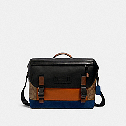 RANGER MESSENGER IN SIGNATURE CANVAS WITH MOUNTAINEERING DETAIL - QB/TAN BURNT SIENNA MULTI - COACH 91238