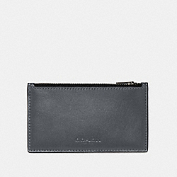 ZIP CARD CASE IN COLORBLOCK - QB/GREY PURPLE MULTI - COACH 91241