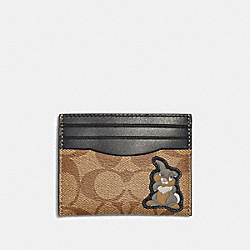 DISNEY X COACH SLIM CARD CASE IN SIGNATURE CANVAS WITH THUMPER - QB/TAN BLACK - COACH 91245