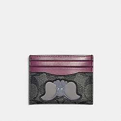 DISNEY X COACH SLIM CARD CASE IN SIGNATURE CANVAS WITH DUMBO - QB/CHARCOAL PLUM MULTI - COACH 91246