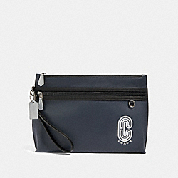 SPORTY CARRY ALL POUCH WITH REFLECTIVE COACH PATCH - QB/MIDNIGHT NAVY MULTI - COACH 91250