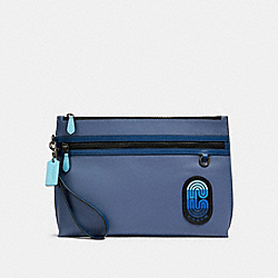 CARRYALL POUCH IN COLORBLOCK WITH COACH PATCH - QB/BLUE MULTI - COACH 91262