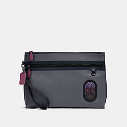 CARRYALL POUCH IN COLORBLOCK WITH COACH PATCH - QB/GREY PURPLE MULTI - COACH 91262