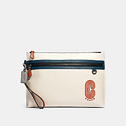 SPORTY CARRY ALL POUCH IN COLORBLOCK WITH COACH PATCH - QB/CHALK AEGEAN MULTI - COACH 91269