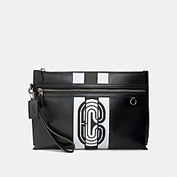 SPORTY CARRY ALL POUCH WITH REFLECTIVE VARSITY STRIPE AND COACH PATCH - QB/BLACK/SILVER/BLACK - COACH 91272