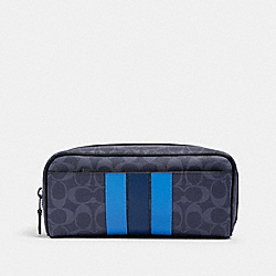 DOPP KIT IN SIGNATURE CANVAS WITH VARSITY STRIPE - QB/DENIM MULTI - COACH 91275