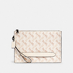 STRUCTURED POUCH WITH HORSE AND CARRIAGE PRINT - QB/CHALK MULTI - COACH 91277