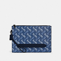 STRUCTURED POUCH WITH HORSE AND CARRIAGE PRINT - QB/INDIGO MULTI - COACH 91277