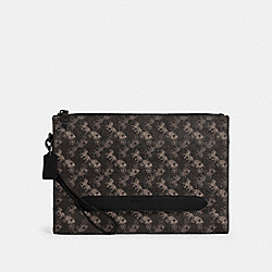 STRUCTURED POUCH WITH HORSE AND CARRIAGE PRINT - QB/BLACK MULTI - COACH 91277