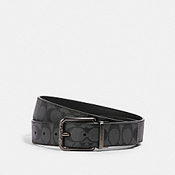 HARNESS BUCKLE CUT-TO-SIZE REVERSIBLE BELT, 38MM - QB/CHARCOAL/BLACK - COACH 91283