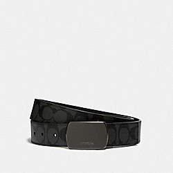 PLAQUE BUCKLE CUT-TO-SIZE REVERSIBLE BELT, 38MM - QB/BLACK/CHARCOAL - COACH 91286