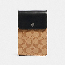 NORTH/SOUTH PHONE CROSSBODY IN SIGNATURE CANVAS - QB/TAN BLACK - COACH 91289