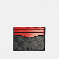 SLIM CARD CASE IN SIGNATURE CANVAS - QB/SPORT RED CHARCOAL - COACH 91291
