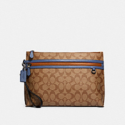SPORTY CARRY ALL POUCH IN COLORBLOCK SIGNATURE CANVAS - QB/TAN ADMIRAL MULTI - COACH 91292