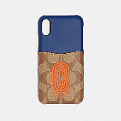 IPHONE X/XS CASE IN COLORBLOCK SIGNATURE CANVAS WITH COACH PATCH - QB/TAN ADMIRAL MULTI - COACH 91295