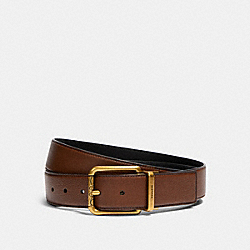 SQUARE ROLLER BUCKLE CUT-TO-SIZE REVERSIBLE BELT, 38MM - AB/DARK SADDLE BLACK - COACH 91307