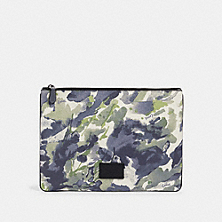 LARGE POUCH WITH WATERCOLOR SCRIPT PRINT - QB/GREEN MULTI - COACH 91318