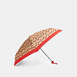 MINI UMBRELLA IN SIGNATURE CRAYON HEARTS PRINT - KHAKI/RED - COACH 91364