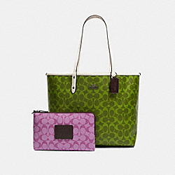 REVERSIBLE CITY TOTE IN BLOCKED SIGNATURE CANVAS - QB/CITRON MULTI - COACH 91380