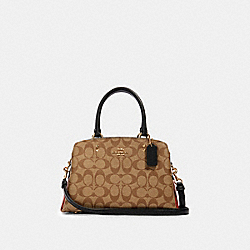 MINI LILLIE CARRYALL IN COLORBLOCK SIGNATURE CANVAS - IM/KHAKI MULTI - COACH 91384