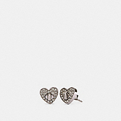 PAVE TURNLOCK HEART STUD EARRINGS - SILVER - COACH 91402