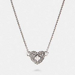 PAVE TURNLOCK HEART NECKLACE - SILVER - COACH 91404