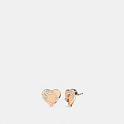 SIGNATURE HEART STUD EARRINGS - ROSEGOLD - COACH 91420