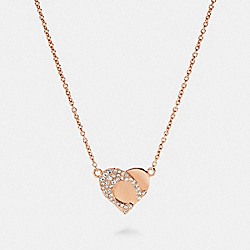 SIGNATURE HEART NECKLACE - ROSEGOLD - COACH 91423