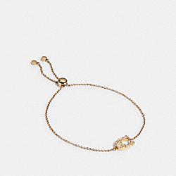 PAVE SIGNATURE SLIDER BRACELET - GOLD - COACH 91427