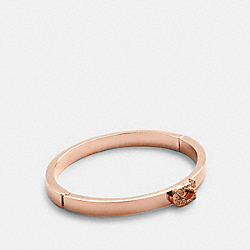 PAVE SIGNATURE HINGED BANGLE - ROSEGOLD - COACH 91428