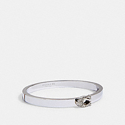 PAVE SIGNATURE HINGED BANGLE - SILVER - COACH 91428