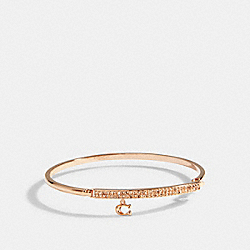 SIGNATURE PAVE BAR HINGED BANGLE - ROSEGOLD - COACH 91429
