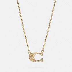PAVE SIGNATURE NECKLACE - GOLD - COACH 91433