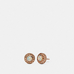 OPEN CIRCLE STUD EARRINGS - RS/WHITE - COACH 91444