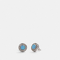 OPEN CIRCLE STUD EARRINGS - SV/BLUE - COACH 91444