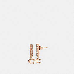 SIGNATURE PAVE BAR STUD EARRINGS - ROSEGOLD - COACH 91446