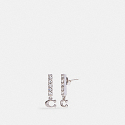 SIGNATURE PAVE BAR STUD EARRINGS - SILVER - COACH 91446