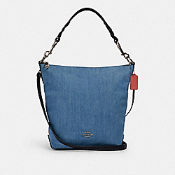 ABBY SHOULDER BAG - SV/DENIM MULTI - COACH 91452