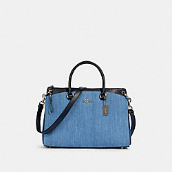 MIA SATCHEL - SV/DENIM MULTI - COACH 91457