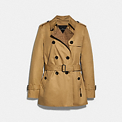 SIGNATURE LAPEL SHORT TRENCH - CLASSIC KHAKI - COACH 91472