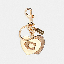 SIGNATURE HEARTS KEY RING - IM/KHAKI - COACH 91478