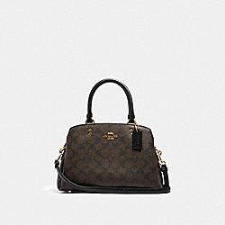 MINI LILLIE CARRYALL IN SIGNATURE CANVAS - IM/BROWN BLACK - COACH 91494